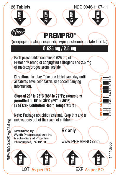 PRINCIPAL DISPLAY PANEL - 0.625 mg / 2.5 mg Tablet Blister Card